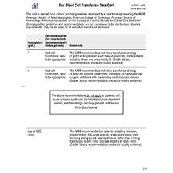 RBC Transfusion Data Card (Adult and Pediatric) sets of 10