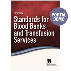 AABB Standards Portal Demo – BBTS 31st edition